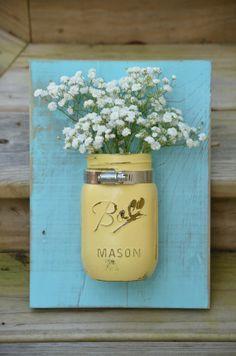 Yellow and coastal blue hanging wall organizer // distressed mason jar decor…