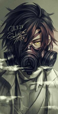 Cool gas mask guy with yellow eyes, I plan to draw a full-body of this guy with a slightly different haircut later in time^^ (Cool Art Ideas) Gas Mask Art, Masks Art, Gas Masks, Gas Mask Drawing, Manga Boy, Manga Anime, Anime Art, Cool Anime Guys, Anime Boys