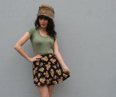 Vintage 80s Sunflower Mini Skirt from Lucky Vintage