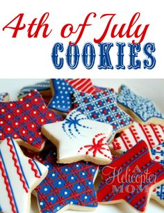 Great cookies for feeling Patriotic! of July Cookies - Gorgeous! For my of July party! Summer Cookies, Fancy Cookies, Iced Cookies, Cute Cookies, Royal Icing Cookies, Holiday Cookies, Holiday Treats, Star Cookies, Cookie Icing