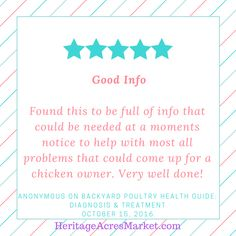 Thank you for your review on our Backyard Poultry Health Guide eBook