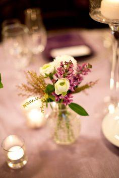 Déco petit bouquet violet vert