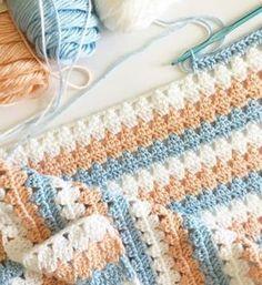 Etsy Crochet Pattern - Modern Peach and Blue Granny Baby Blanket by daisyfarmcrafts on Etsy