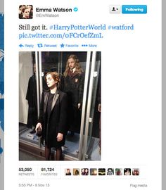 Emma Watson: 'Harry Potter' Reunion with J.: Photo Emma Watson reunites with Harry Porter author J. Rowling while attending the Lumos Fundraising Event held at The Warner Bros. Harry Potter Tour on Saturday (November… Humour Harry Potter, Harry Potter Welt, Theme Harry Potter, Harry Potter Love, Hermione Granger, Draco, Hunger Games, Percy Jackson, Florent Mothe
