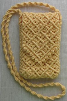 Macrame cell phone case. Link's broken, but this picture is good inspiration.