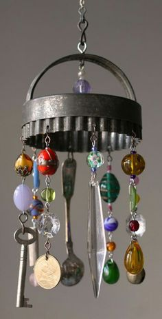 circle cutter keys spoons coins beads wind chime