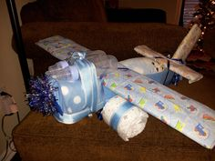 Airplane diaper centerpiece for boy baby shower