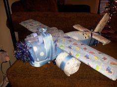 Airplane diaper centerpiece for boy baby shower