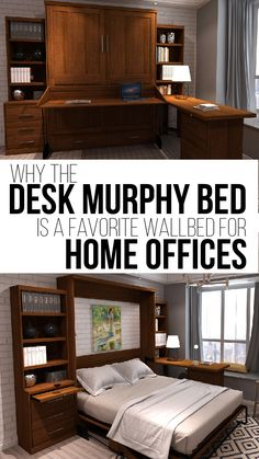 Desk murphy beds can maximize the space in your home. Several options make them the best option for home offices! Murphy Bed Office, Murphy Bed Desk, Best Murphy Bed, Murphy Bed Plans, Guest Bedroom Home Office, Spare Room Office, Guest Room, Modern Murphy Beds, Small Home Offices