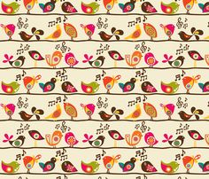 Singing Birds fabric by valentinaramos on Spoonflower - custom fabric