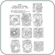 Garden Circles & Stepping Stones Wood Carving Patterns by L S IrishThis is actually a pattern for wood carvings, but i thought it would be fun to color them.