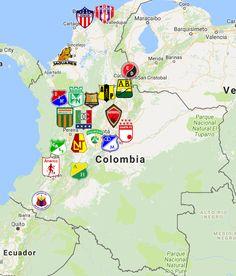 Colombia Categoría Primera A Map Colombia Soccer, Fifa, European Soccer, Sports Logo, Team Logo, Web Design, Football, Logos, Maps