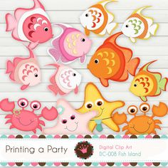 Digital Clip Art Set Fish Island with glitter borders on all the images and effects. Personal and Small Commercial Use. via Etsy Foam Crafts, Paper Crafts, Clipart Design, Cute Clipart, Party Banners, Felt Patterns, Printable Designs, Printables, Punch Art