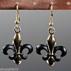 New Fleur De Lis Black And Gold Earrings Would Look Great With Your Saints Outfit