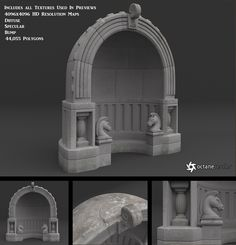 A highly detailed, fantasy stone alcove model, available in several scaled .obj formats, for importing easily into other applications, like Blender, Poser, or Daz|Studio. This object comes complete with realistic, HD texture maps for the color/diffuse, bump, and (optional) specular material channels. Each texture map is provided in maximum quality JPG format, with resolution of 4096x4096 pixels, and are suitable for extreme close-up rendering. Notice that you may need to tweak, or adjust…