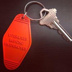 Cheeky 3D Printed Vintage Style Keychains - Uteruses Before Duderuses
