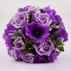 Artificial Silk Wedding Flowers - Handtied of Purple and Lilac