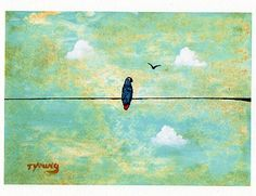 African Grey Parrot Bird folk art PRINT of Todd Young painting Sunny Day on Etsy, Sold