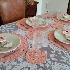 185, Crochet Home Decor, Napkins Set, Tiered Cakes, Mini, Tea Cup Saucer, Pink One Piece, Tea Cups, Napkins