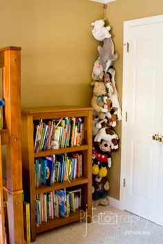 hang a rope in the corner from ceiling to floor and clothes pins to organize all those stuffed animals!!