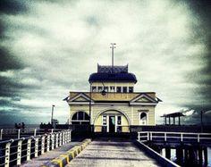 St Kilda Pier / Fine Art Photograph looking along pier / Melbourne Australia architecture / Wall Print / Urban Landscape / Old fashioned