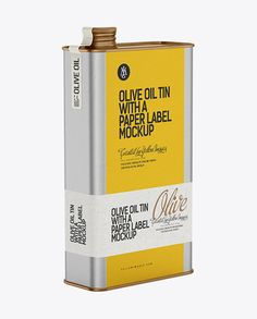 Olive Oil Tin with a Paper Label Mockup. Preview