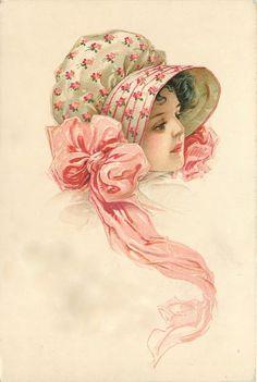 Vintage Postcard with pretty bonnet