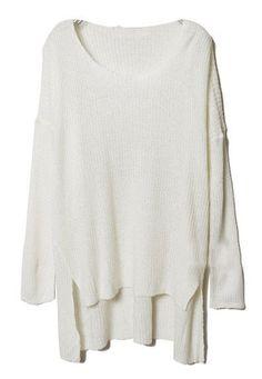 White Long Sleeve Split Asymmetrical Sweater
