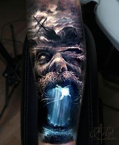 Tattoo photo - Poseidon tattoo by Arlo Tattoos Hand Tattoos, Best Sleeve Tattoos, Tattoo Sleeve Designs, Skull Tattoos, Forearm Tattoos, Body Art Tattoos, Realistic Tattoo Sleeve, Portrait Tattoos, Ocean Sleeve Tattoos