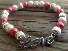 Pink pearl Valentine's Day Love bracelet. by GnosisCraftsandGifts, $17.00