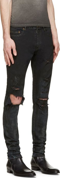Saint Laurent Black Distressed Skinny Jeans
