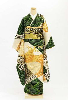 This may be one of the most gorgeous kimono I have ever seen Japanese Art Modern, Japanese Beauty, Japanese Geisha, Traditional Kimono, Traditional Dresses, Furisode Kimono, Modern Kimono, Japanese Costume, Kimono Design