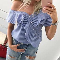 Women Off Shoulder Blouse Shirts Short Sleeve Ruffle Frill Tops Party Shirt Ladies Summer Striped Blouse Shirts & Tops, Shirt Blouses, Button Shirts, Casual Tops, Casual Shirts, Off Shoulder Shirt, Shoulder Tops, Blue Off Shoulder Top, Frill Tops