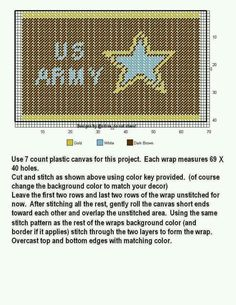 WRAP * US ARMY by DESIGNS BY @NDREA Plastic Canvas Coasters, Plastic Canvas Tissue Boxes, Plastic Canvas Crafts, Plastic Canvas Patterns, Cross Stitch Boards, Cross Stitch Needles, Cross Stitch Patterns, Stitch Pictures, Plastic Canvas Christmas