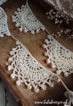 Ravelry: Solstice Bunting pattern by Emma Escott Crochet Home, Crochet Crafts, Yarn Crafts, Crochet Projects, Free Crochet, Knit Crochet, Chrochet, Crochet Stitches, Crochet Patterns