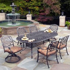 Outdoor Home Styles Floral Blossom Patio Dining Set - Seats 6 - 5558-34