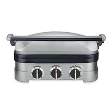 Cuisinart Griddler - has removable plates and drains grease. Can be used as a contact grill, panini press, flat grill, and a griddle. Also adjustable temperature controls! $99.99