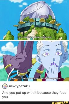 whis, beerus, dbz, funny, food
