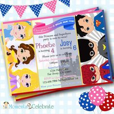 New Twins Birthday Invitations. Princess and Superhero Birthday Invitations