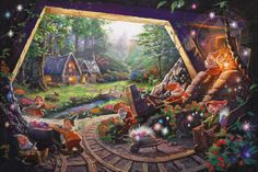 Dwarves in mine. Snow White art