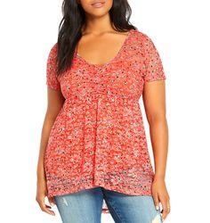 TORRID NWT  Womens PLUS 0 0X 12 Coral Floral Lace Babydoll Top Hi Low Shirt NEW #Torrid #Blouse #Casual