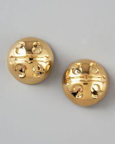 Studs. Tory Burch Golden Logo Stud Earrings.