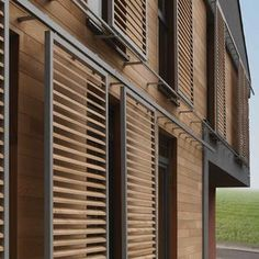 Find out all of the information about the Duco product: sliding solar shading / aluminum / wooden / for facade DUCOSLIDE LUXFRAME. Facade Design, Exterior Design, House Design, Renovation Facade, Wooden Facade, Wooden Slats, Solar Shades, Grill Design, Window Shutters