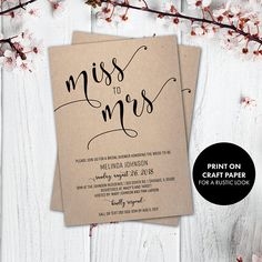 bridal shower invitation wedding shower rustic bridal shower invite miss to mrs