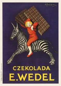 Czekolada E Wedel by Cappiello 1926 France - Vintage Poster Reproduction. This French poster features a boy in red suit and hat riding on a zebra carrying chocolate bars on his back on a purple background. Giclee Advertising Print. Classic Posters