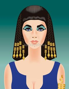 Elizabeth Taylor in Cleopatra by Alejandro Mogollo Hollywood Glamour, Hollywood Stars, Old Hollywood, Classic Hollywood, Celebrity Caricatures, Celebrity Drawings, Elizabeth Taylor Cleopatra, Screen Test, Pop Culture Art