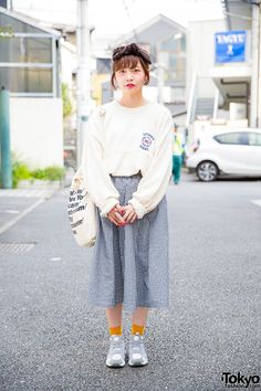 Oversized NFL Sweater, Gingham Skirt & Retro Pump Sneakers in Harajuku (Tokyo Fashion, 2015)