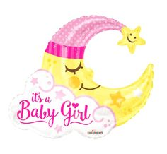 Sleeping Moon Baby Girl Announcement Shower Party Balloon for sale online Jumbo Balloons, Round Balloons, Large Balloons, Mylar Balloons, Baby Shower Balloons, Baby Balloon, Girl Birthday Cupcakes, 1st Birthday Party Supplies, Confetti Balloon Gender Reveal