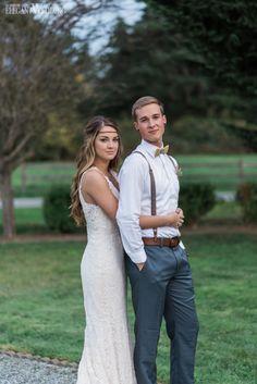 Boho bride and groom! Wedding dress, suspenders | ORGANIC PURPLE AND GOLD BOHO WEDDING www.elegantwedding.ca