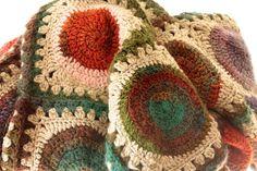 Crochet afghan, hand crocheted blanket, brown, oatmeal, greens, browns, pinks